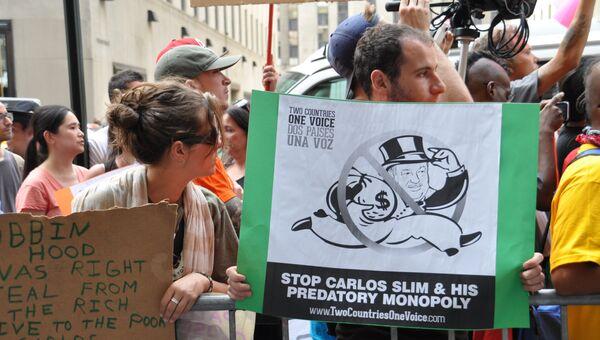 Пикет против Карлоса Слима в Нью-Йорке