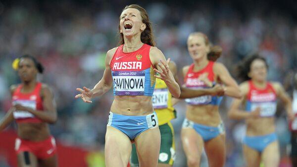 Россиянка Мария Савинова, выигравшая золотую медаль в забеге на 800 м