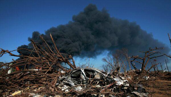 Пожар после взрыва на НПЗ Amuay в Венесуэле