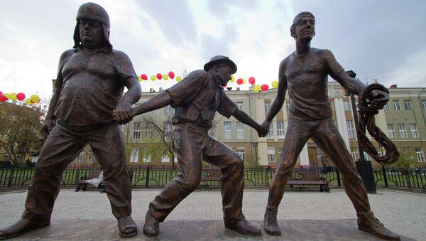 Памятник Трусу, Балбесу, Бывалому и Леониду Гайдаю в Иркутске