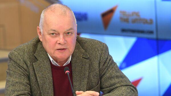 Генеральный директор МИА Россия сегодня Дмитрий Киселев на пресс-конференции, посвященной планам работы Российского исторического общества и фонда История Отечества в 2020 году