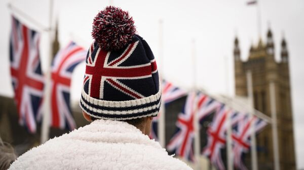 Сторонник Brexit на торжественных мероприятиях, посвященных выходу Великобритании из ЕС (Brexit Party) на площади Парламента в Лондоне