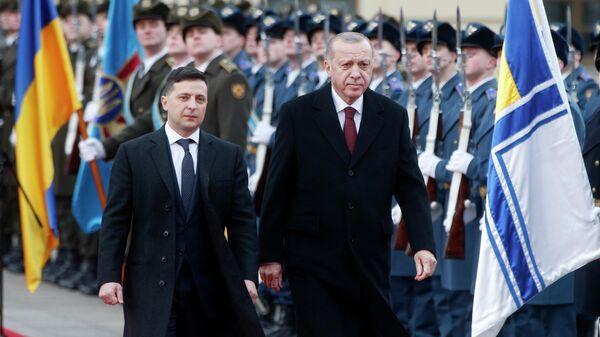 Президент Украины Владимир Зеленский и президент Турции Реджеп Тайип Эрдоган во время встречи в Киеве