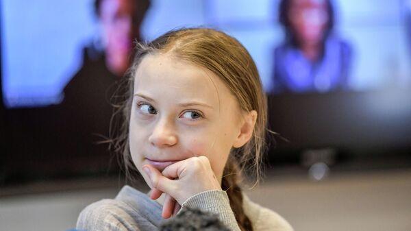 Шведская экоактивистка Грета Тунберг в Стокгольме, Швеция