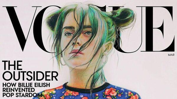 Рисунок Билли Айлиш авторства Анастасии Ковтун на обложке журнала Vogue