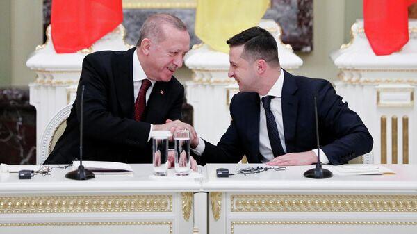 Президент Украины Владимир Зеленский и президент Турции Реджеп Тайип Эрдоган на пресс-конференции в Киеве