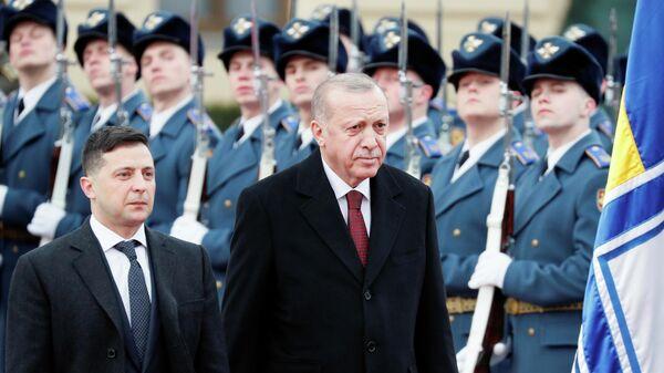 Президент Украины Владимир Зеленский и президент Турции Реджеп Тайип Эрдоган во время встречи в Киеве. 3 февраля 2020