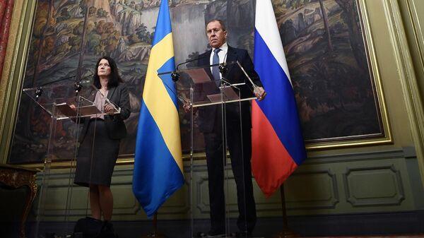 Министр иностранных дел РФ Сергей Лавров и министр иностранных дел Швеции Анн Линде на пресс-конференции по итогам встречи в Москве. 4 февраля 2020