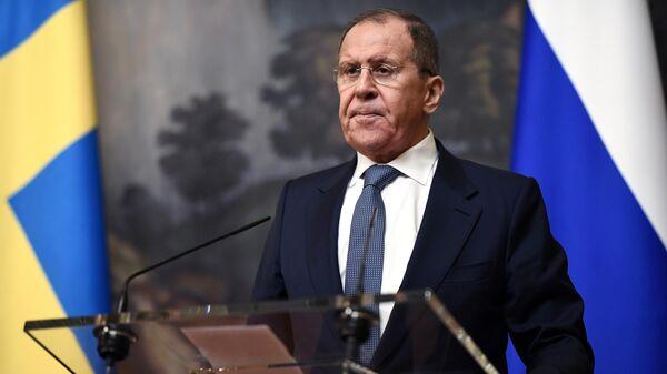 Министр иностранных дел РФ Сергей Лавров на пресс-конференции по итогам встречи с министром иностранных дел Швеции Анн Линде в Москве