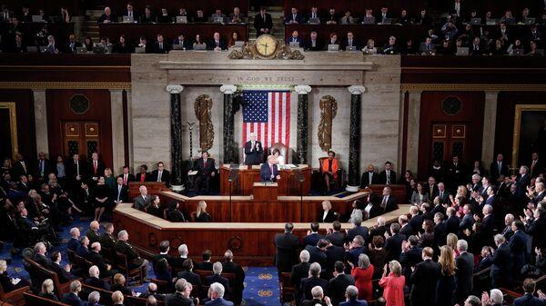 Президент США Дональд Трамп во время ежегодного обращения к конгрессу о положении дел в стране. 4 февраля 2020