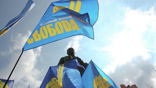 Флаги украинской партии Свобода. Архивное фото