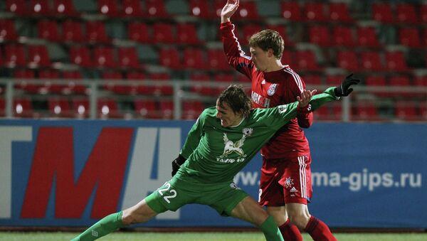 Игровой момент матча Мордовия - Рубин