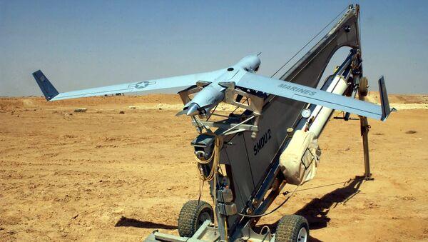 Американский беспилотный летательный аппарат (БПЛА) ScanEagle на катапульте. Архивное фото