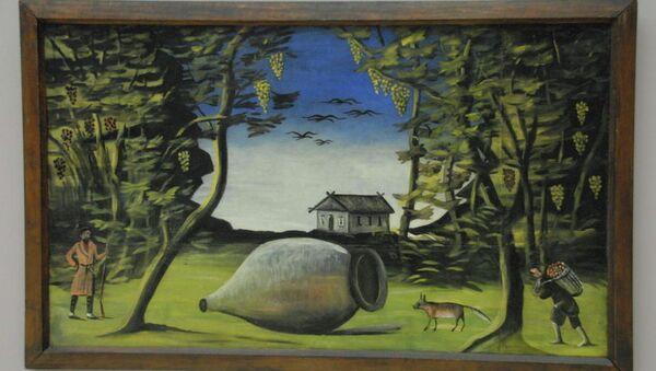 Работа художника Нико Пиросмани Большой кувшин вина в лесу