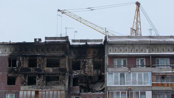 Восстановительные работы в доме, пострадавшем от взрыва, в Томске