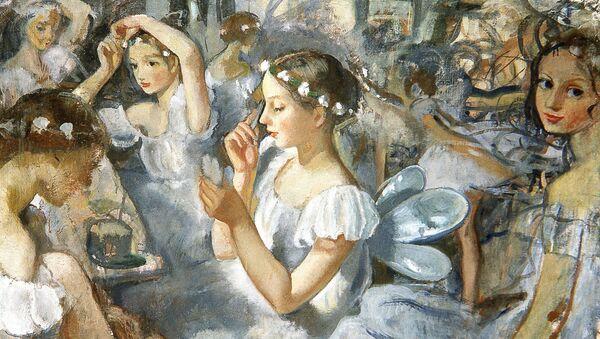 Картина З.Е.Серебряковой Девочки сильфиды (Балет Шопениана)