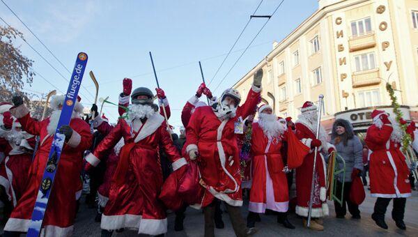 Парад Дедов Морозов в Томске, декабрь 2012 года