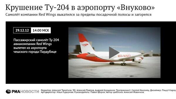 Реконструкция крушения Ту-204 в аэропорту Внуково
