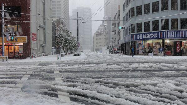 Снегопад в Японии. Архивное фото