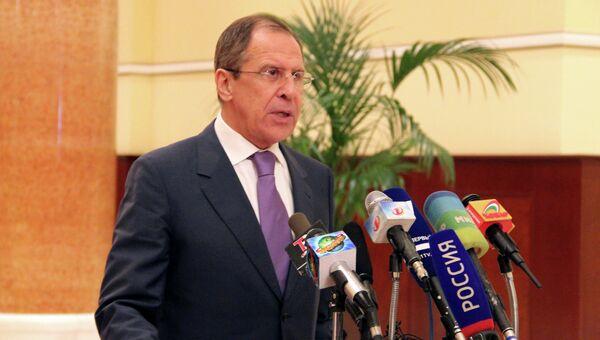 Сергей Лавров на пресс-конференции по итогам переговоров  с президентом Эмомали Рахмоном