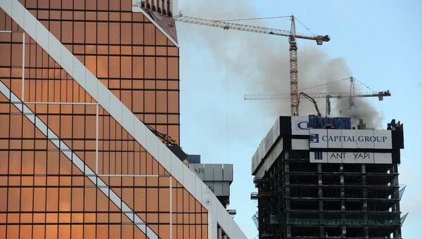 Пожар в строящейся башне комплекса Москва-Сити