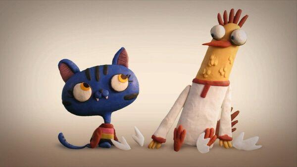 Кадр из эрзянской сказки «Петушок и кошечка» режиссера Сергея Меринова