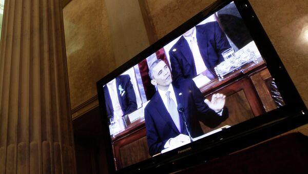 Трансляция обращения президента США Барака Обамы к конгрессу