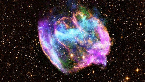 Сверхновая W49B в созвездии Орла, удаленная от нас на расстояние в 26 тысяч световых лет