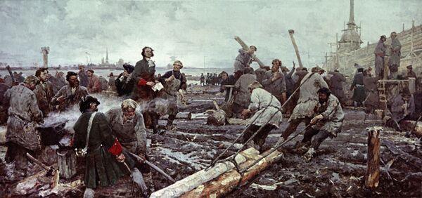 Картина Петр I на строительстве Санкт-Петербурга