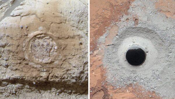 Следы работы марсоходов Opportunity (слева) и Curiosity