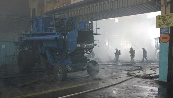 Пожар на комбайновом заводе в Красноярске