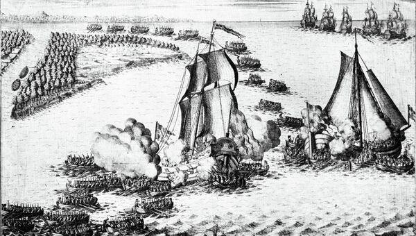 Репродукция гравюры Взятие в плен двух шведских судов в устье Невы 7 мая 1703 года работы А.Зубова с рисунка П.Пикара