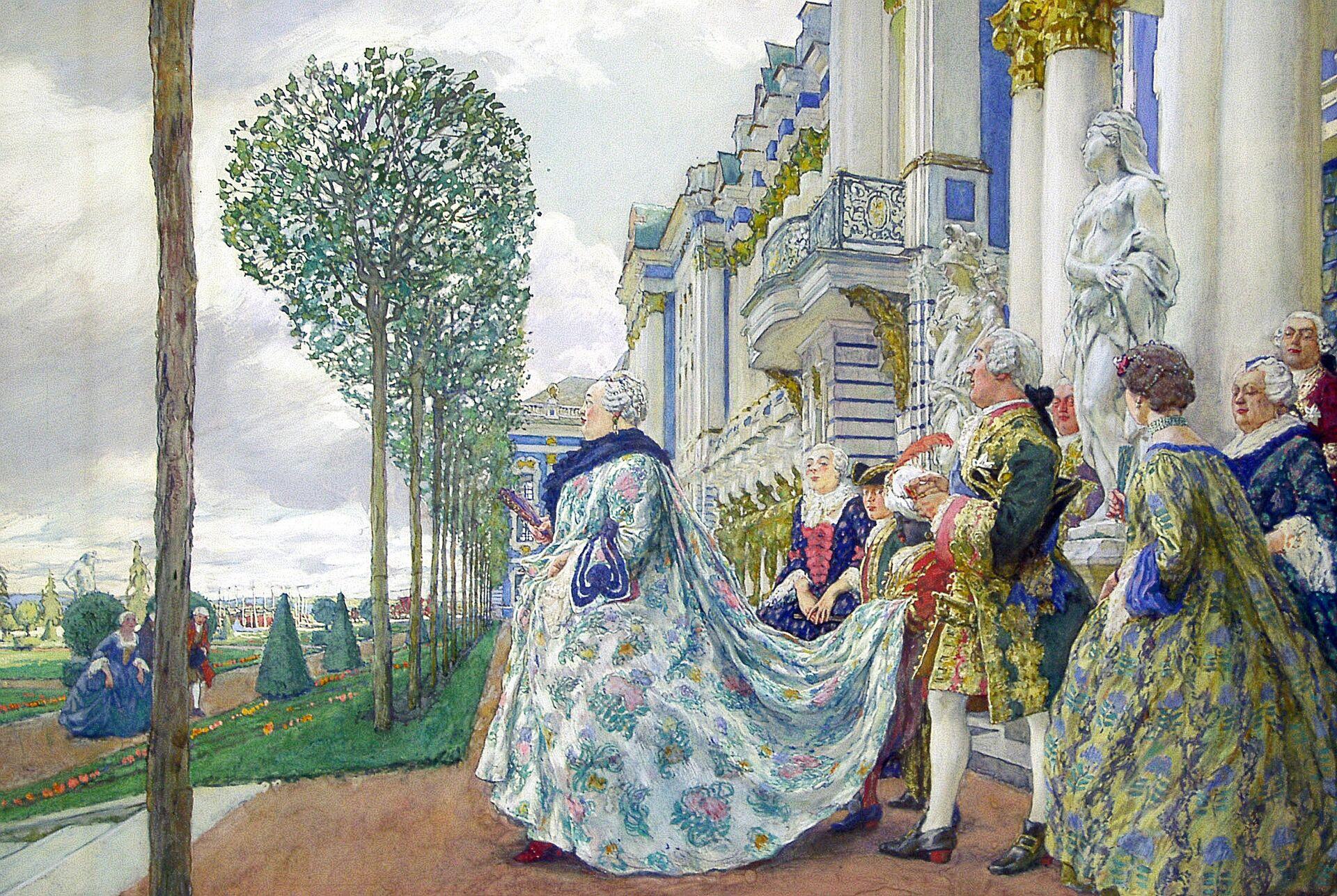 Рисунок Е.Лансере на выставке Придворная охота в Москве - РИА Новости, 1920, 03.01.2021