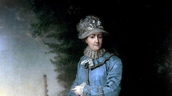 Картина Екатерина II на прогулке в Царскосельском парке (с Чесменской колонной на фоне) художника В.Л. Боровиковского