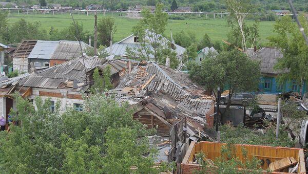 Разрушенные смерчем дома в городе Ефремове Тульской области
