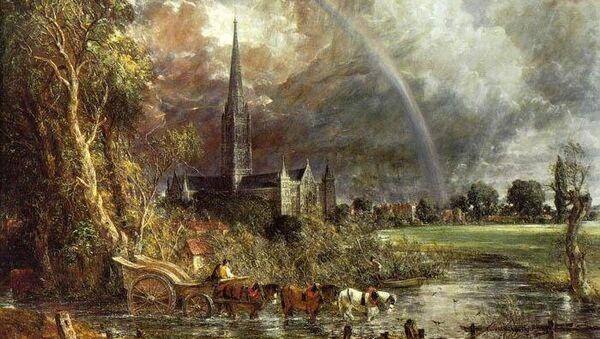 Джон Констебль. Вид с лугов на Солсберийский собор. 1831