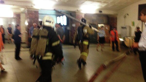 Тушение пожара на станции метро Охотный ряд