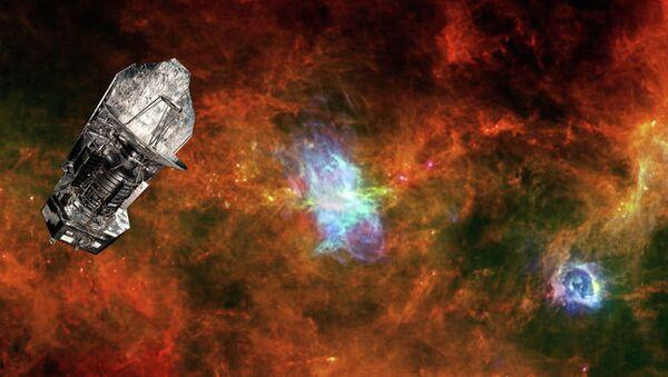 Телескоп Гершель и молекулярное облако в созвездии Паруса