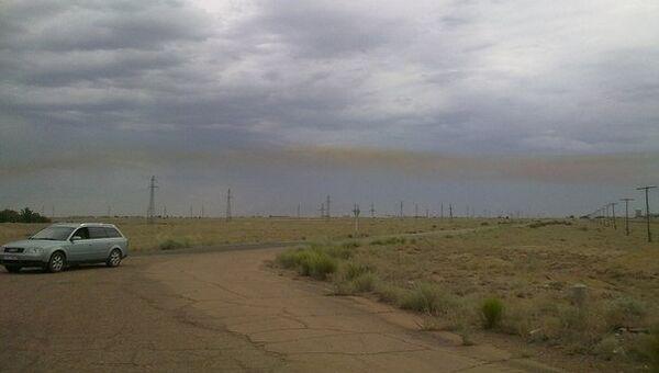 Облако гептила после падения ракеты-носителя Протон-М