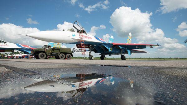 Су-27 АГВП Русские Витязи на аэродроме временного базирования в г.Пушкин