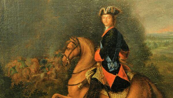 Картина, изображающая Петра Первого во время Полтавской битвы (середина XVIII в.)