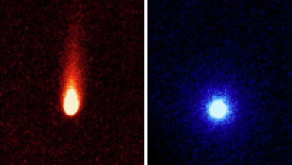 """Снимки кометы ISON, полученные телескопом """"Спитцер"""" в инфракрасном диапазоне"""
