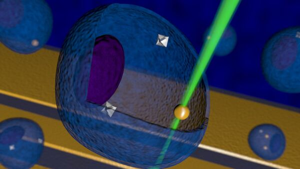 Так художник представил себе нанотермометр из наноалмаза, работающий внутри клетки