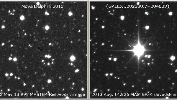 Новая звезда в созвездии Дельфина до и после вспышки
