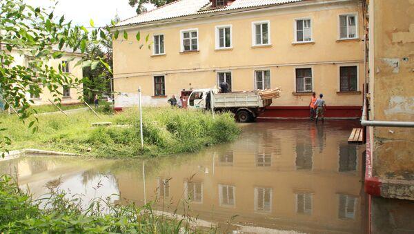 Подтопленные дома летом 2013 в Хабаровском крае