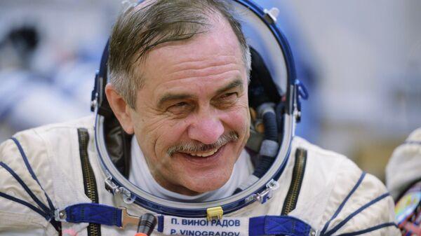 Космонавт Павел Виноградов перед запуском ракеты-носителя Союз-ФГ