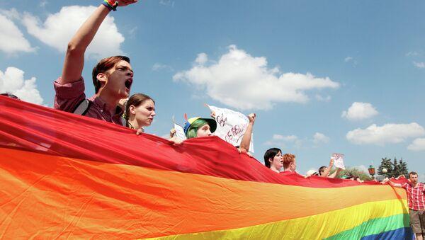 Участники акции в защиту ЛГБТ-сообщества. Архивное фото