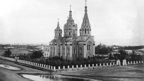 Богородице-Рождественский собор, взорванный в 1936 году, в Красноярске. Архивное фото.