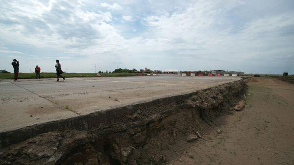 Ремонт взлетно-посадочной полосы в аэропорту Курумоч в Самаре