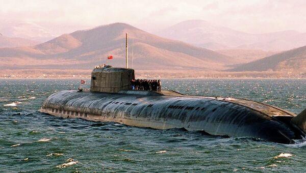 Ракетная атомная подводная лодка в море. Архивное фото